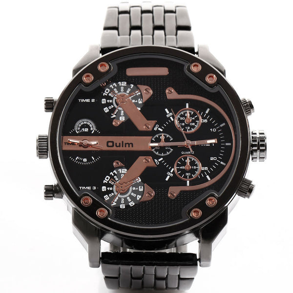 7e8794c9588 ... Oulm Luxury Brand DZ Men Alloy Metal Watch 4 Colors Big Size Army Dual  Time Male ...