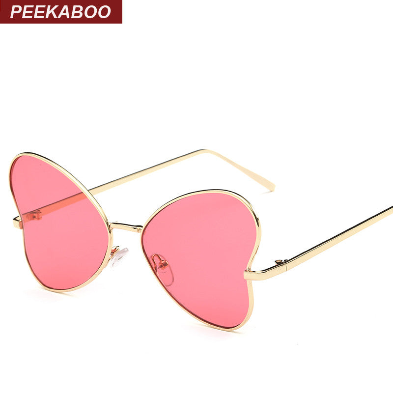 d702260aac1c Peekaboo new butterfly sunglasses women fashion glasses metal designer pink  yellow gold tinted sunglasses cheap female ...