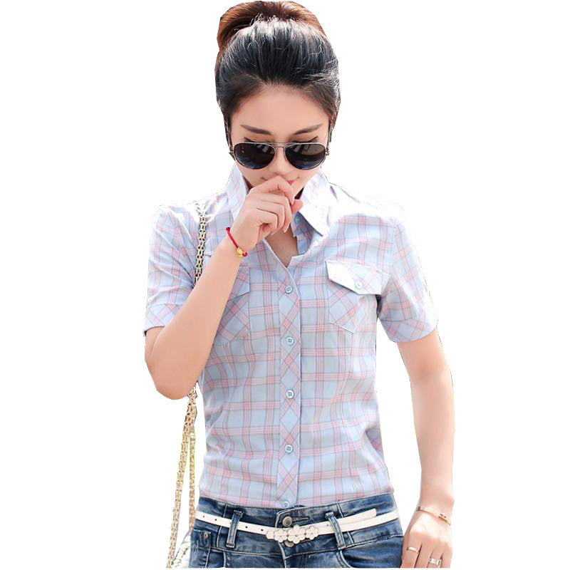 bbdb64500cc2 Plaid Women Shirts with Short Sleeves Cotton Blouses Shirt Turn Down Collar  Female Bodycon Shirts Women ...