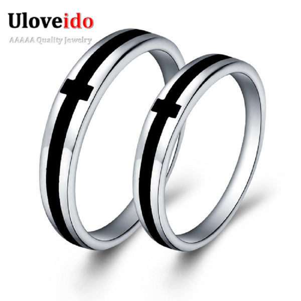 Price For A Pair Silver Color Black Cross Couple Rings Lover S Ring