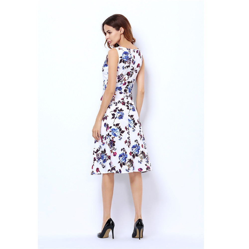 Retro Kleding.Print Dress Plus Size Kleding Robe Retro Swing Casual Summer Vintage
