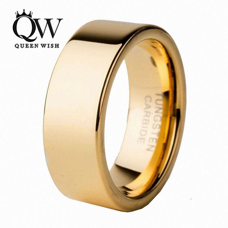 QUEENWISH 8mm Infinity Gold Tungsten Carbide Flat Ring Comfort Fit Wedding Band Polish Finished Vintage Couples Jewelry
