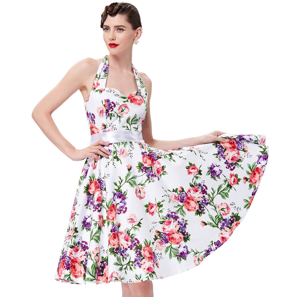 19547aab2039 ... Real Picture 50s rockabilly dresses floral print retro Vintage 60s  party dress Pinup Swing Audrey Hepburn ...