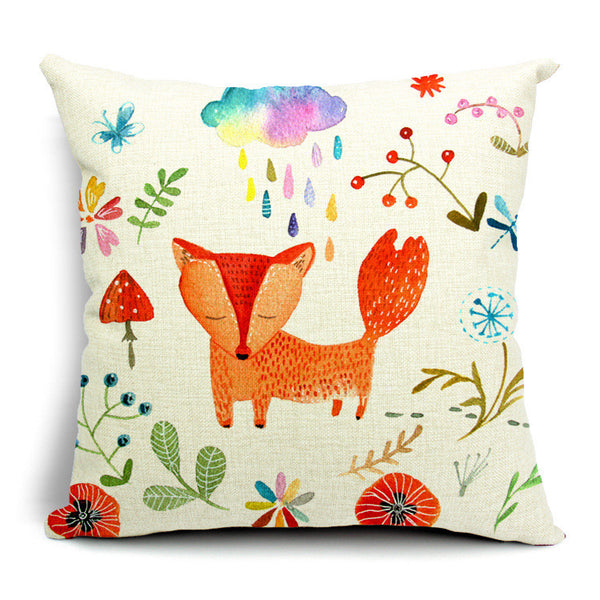 Red Fox Hand Painted Cartoon Cushion Cover Animal Decorative Pillow Mesmerizing Hand Painted Decorative Pillows
