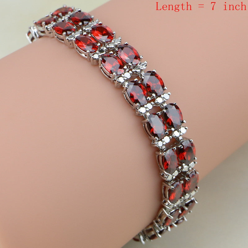 Red Garnet White Zircon 925 Sterling Silver Jewelry Sets