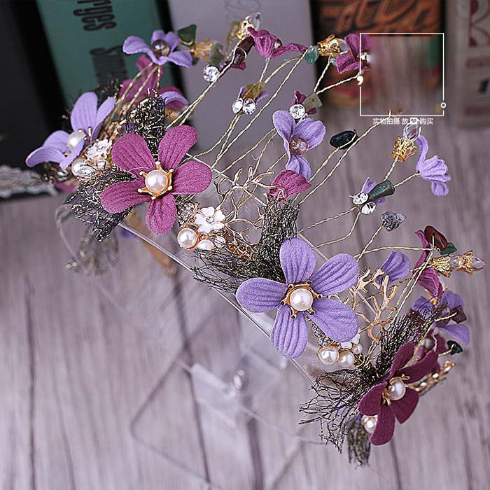 retro color flower crown wedding elegant baroque noble purple flower