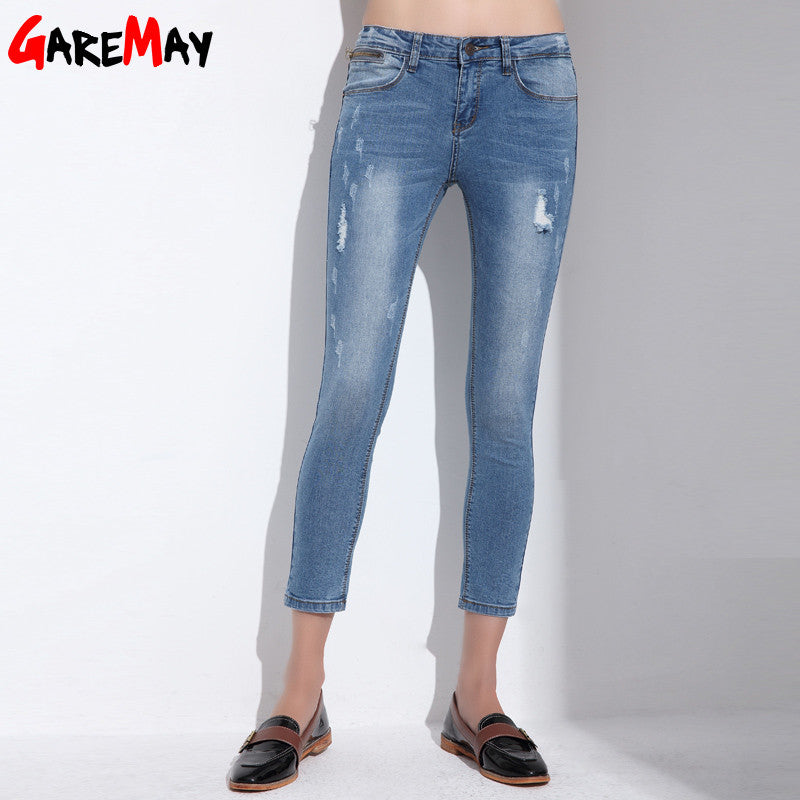 c403160d7a1 ... Ripped Jeans For Women Skinny Denim Capri Jeans Femme Stretch Plus Size  Female Jeans Vaqueros Mujer ...