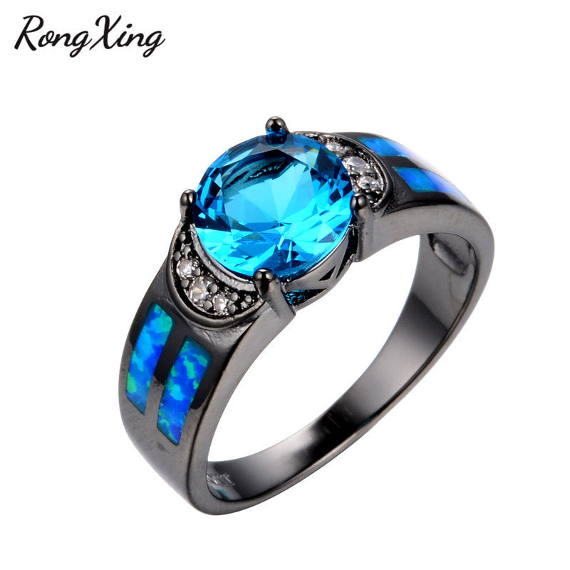 3d9644a994 ... RongXing Ocean Blue Fire Opal Wedding Rings For Women Birthday Gift  Vintage Black Gold Filled Lake ...