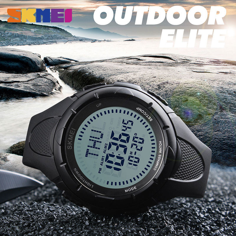 0a0ff7d0610 ... SKMEI 1232 Men Digital Wristwatches Compass World Time EL Light Watches  Repeater Countdown Alarm Sport Watch ...