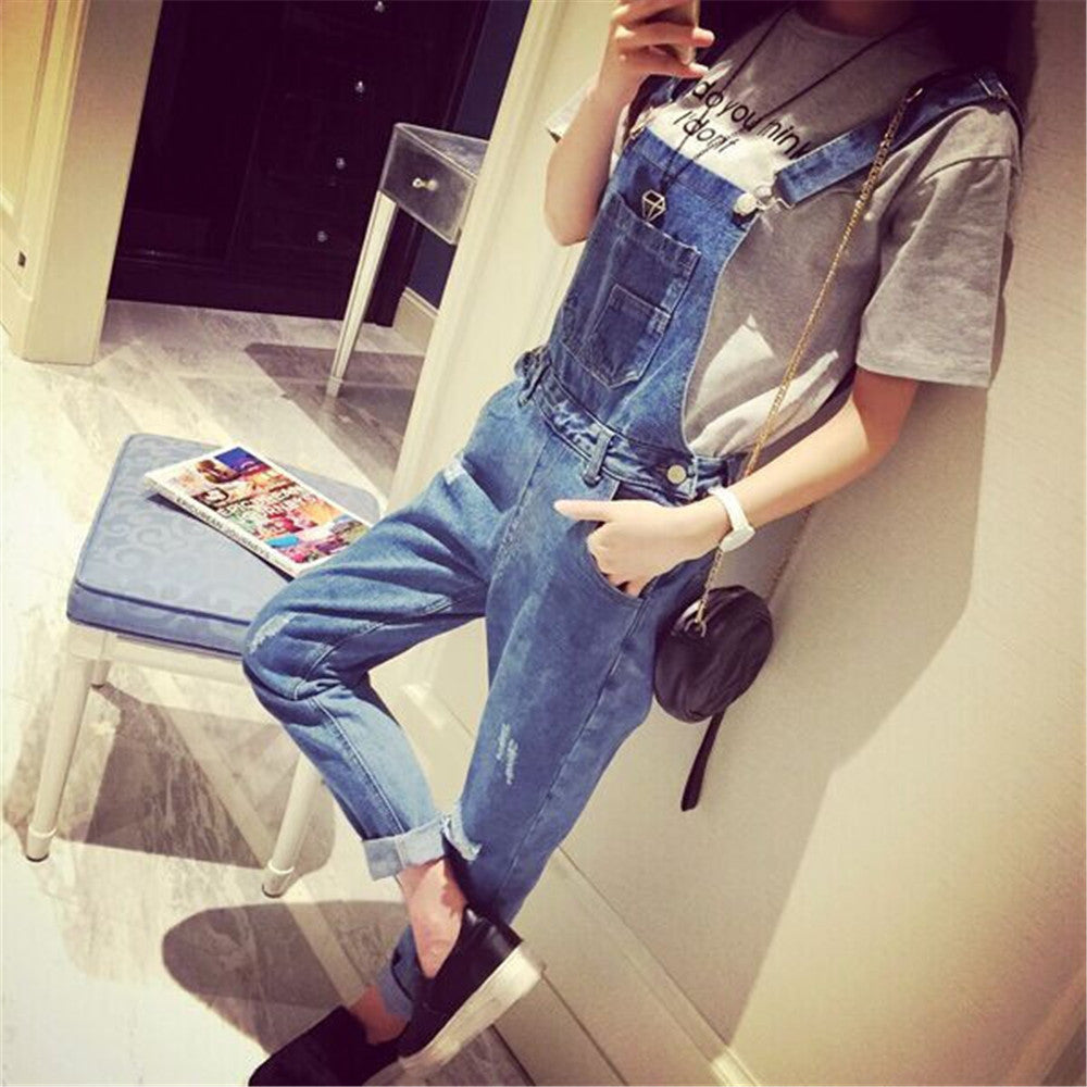 c31013ace3 ... Salopette Women Ladies Stonewash Destroyed Denim Dungarees Jumpsuit  Denim Overalls Casual Skinny Girls Jeans Rompers ...