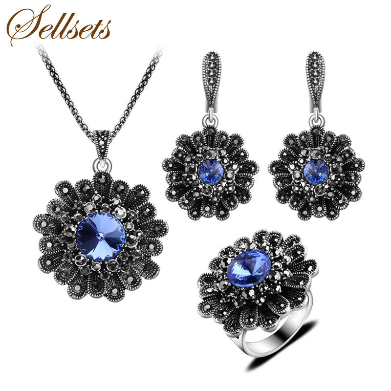 Sellsets Antique Silver Color Alloy Jewelry Set Blue Crystal Big Flowe