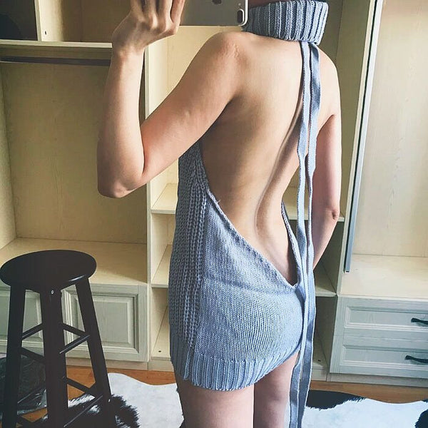 Sexy open back sweater