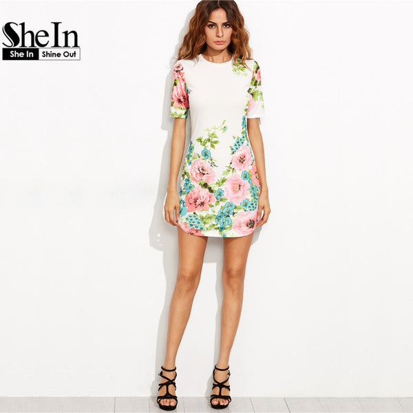 bbfa7a5441 ... SheIn Elegant Dresses For Woman Summer Style Ladies Multicolor Floral  Print Round Neck Short Sleeve Bodycon ...