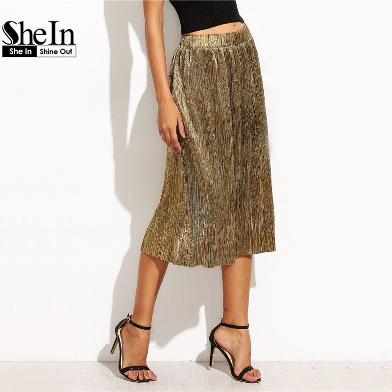 881484252 ... SheIn Fashion Skirts For Women New Arrival Autumn Long Skirts Style  Ladies Golden Loose Elegant Pleated ...