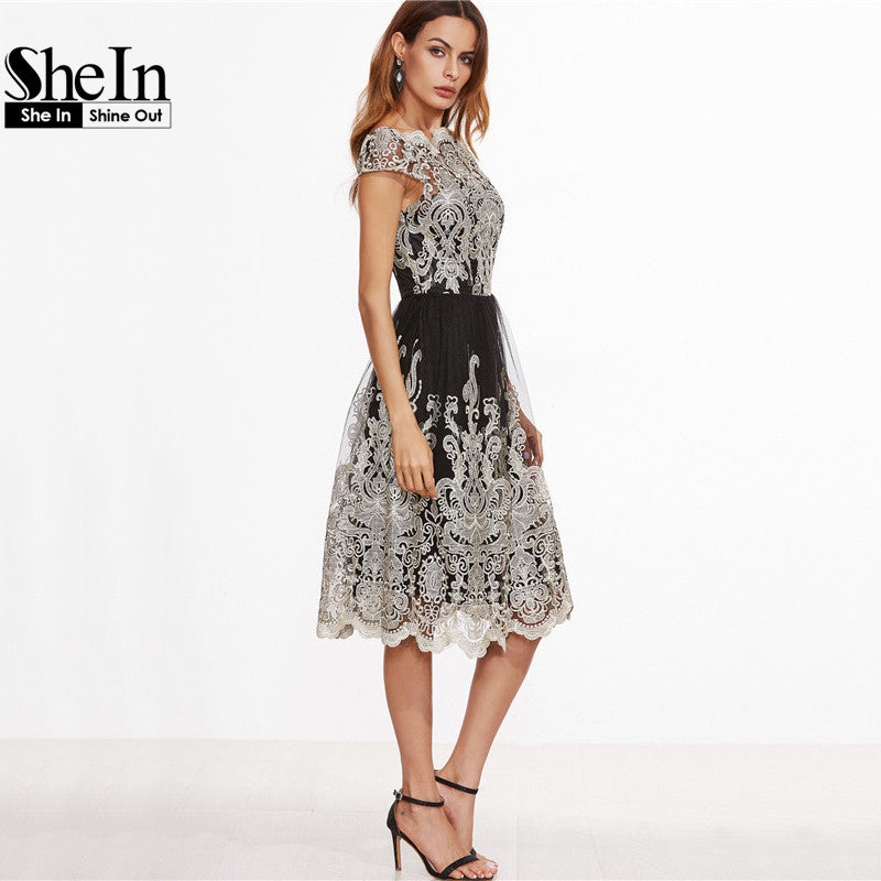 ... SheIn Party Dresses Color Block Black Champagne Contrast Fit And Flare  Embroidered Cap Sleeve Knee Length ... b99f691186ba
