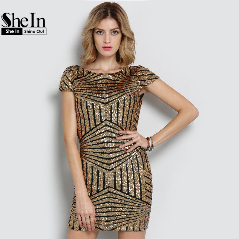 9de26b7f3c7 ... SheIn Round Neck Sequined Bodycon Dress Women Party Night Club Wear Sexy  Short Gold Cap Sleeve ...