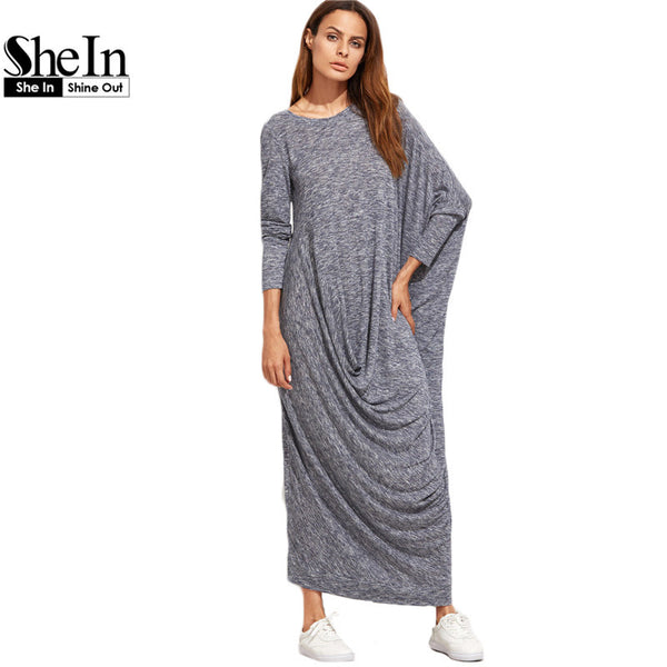 86e3b97fca SheIn Winter Long Maxi Dress Brand Casual Dresses Navy Marled Knit Dra –  Raja