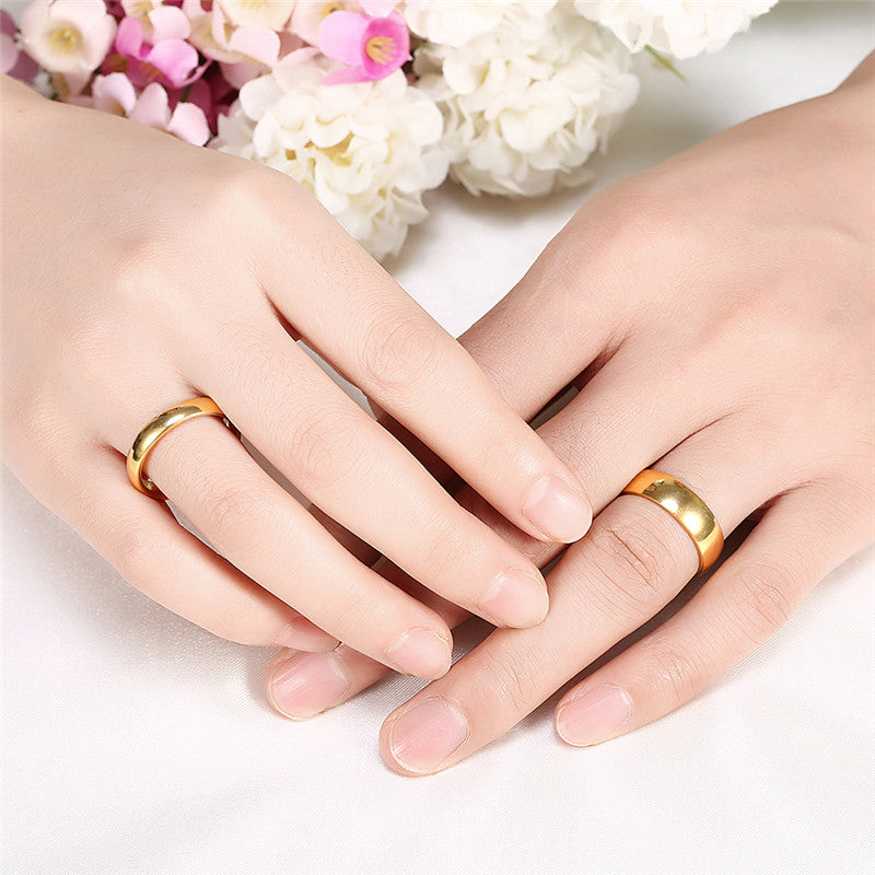Simple Couple Wedding Rings Pair Gold Color Couple Rings Stainless Ste