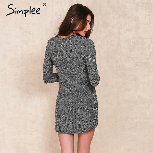 1f34674bc77 ... Simplee charcoal women winter knitted dresses Long sleeve v neck lace  up sweater dress Casual bodycon ...