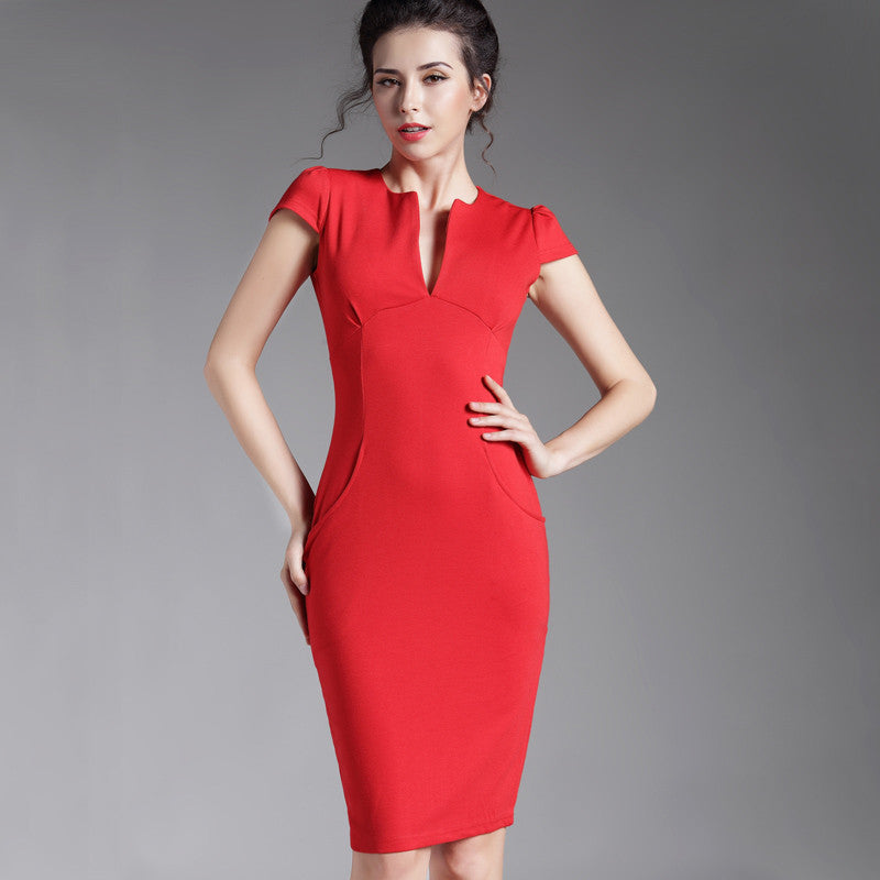 37c37e380a7 Spring Sexy red black Deep V bodycon bandage Business work office Party  Pencil sheath vintage women ...