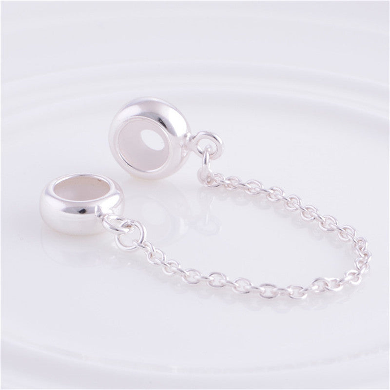4a34ce6557092 Sterling Silver Jewelry Safety Chain Charm Bead DIY Stopper Fashion Bead  Fit European Bracelets/Necklace Snake Chain ST010
