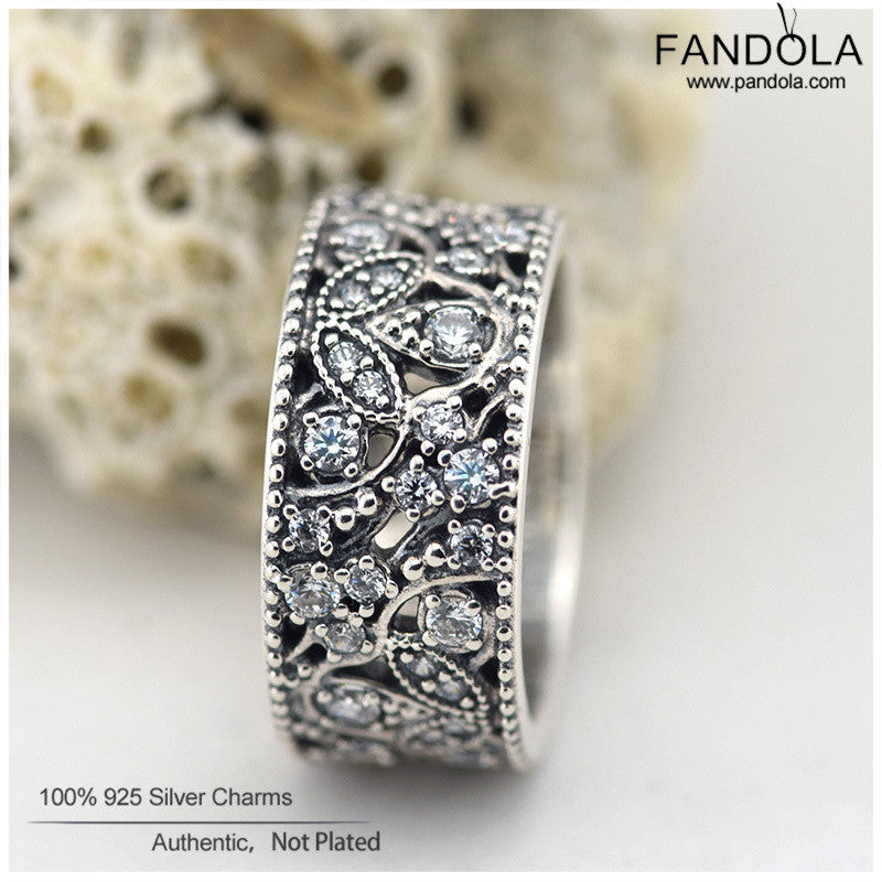 4ae588089 ... Sterling-Silver-Jewelry Shimmering Leaves Pave CZ Rings 925 Silver Rings  for Women Fine. Ring Size