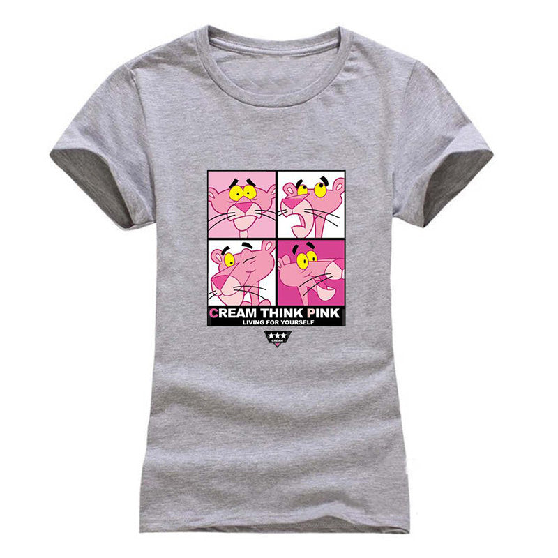 02c17275af4 ... T shirt women Fashion summer pink animel print short sleeve t-shirts  comfortable brand cotton ...
