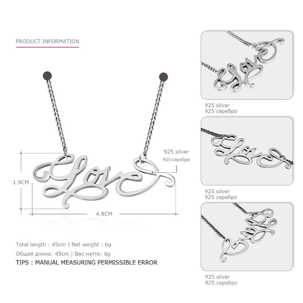 Tardoo Brand Real 925 Sterling Silver Romantic Necklace For Women