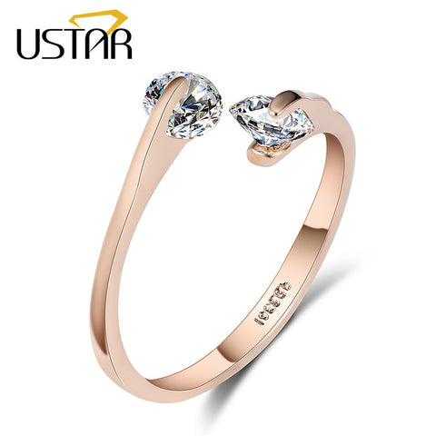 USTAR AAA Zircon Wedding Rings for women opening Rose gold color Crystal engagement rings female anel adjustable size