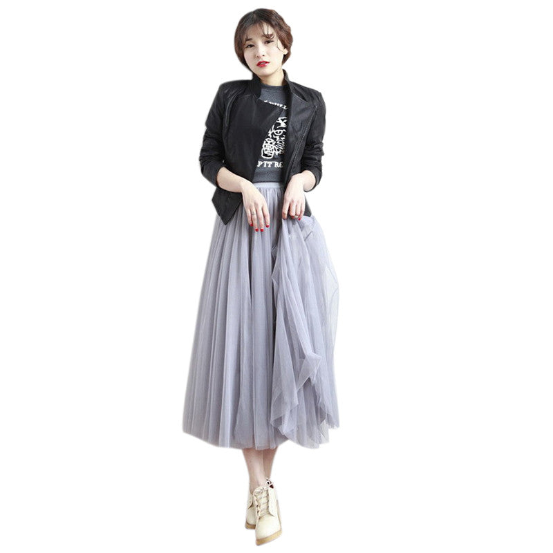 16ed663e1c ... UWBACK 2017 New Summer Tulle Skirt Women High Waist Ankle Length Jupe 3  Layers Mesh Pleated ...