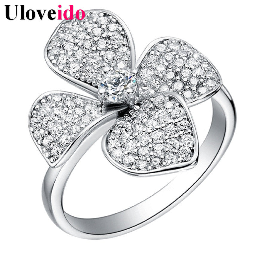 Uloveido Flower Ring Ladies Silver Color Jewelry Wholesale Engagement Rings with Stones Micro Pave Bijoux Femme Women Bague J067