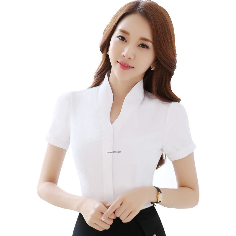 V-Neck White Shirts Short Sleeve Blouse New Fashion Tops Women Summer Style  Office Ladies Formal Work Wear
