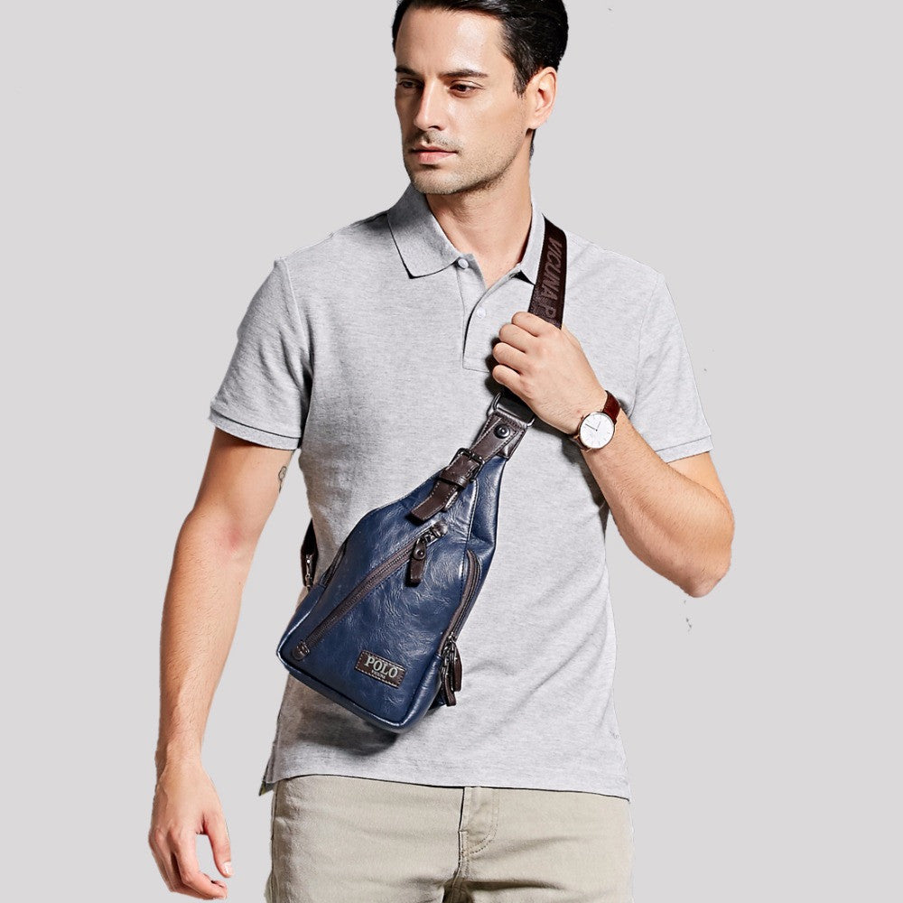 9484154953bf ... VICUNA POLO Famous Brand Theftproof Magnetic Button Open Leather Mens  Chest Bags Fashion Travel Crossbody Bag ...