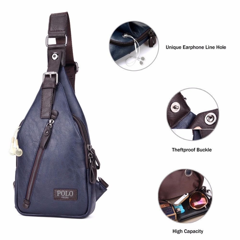 42afdfeb5b48 VICUNA POLO Famous Brand Theftproof Magnetic Button Open Leather Mens Chest  Bags Fashion Travel Crossbody Bag Man Messenger Bag