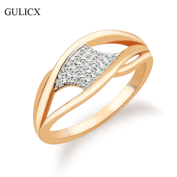 Valentine Gift Jewelry Fashion Women Unique Ring Gold Color Ring