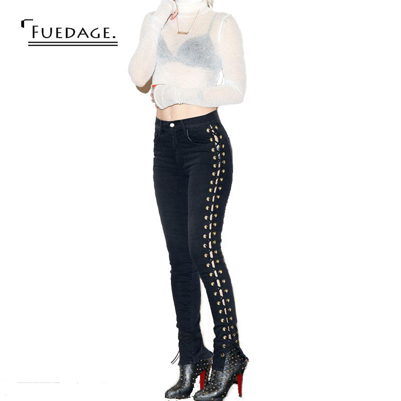 Very Complicated Side Hollow Out Lace Up Women Jeans Joggers Pants Whi