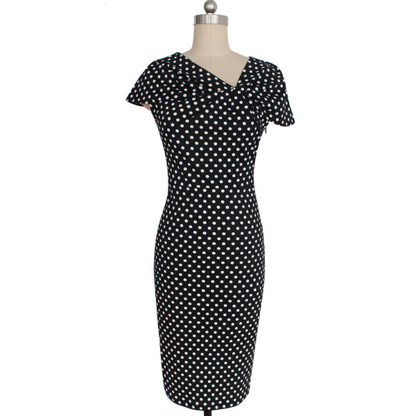 ef1021c4 ... Vfemage Women Elegant Vintage Pinup Bow Ruched Polka Dot Tunic Business  Casual Work Party Stretch Bodycon ...