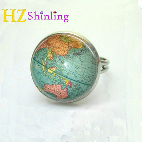 Vintage globe ring planet earth world map art map ring free shipping vintage globe ring planet earth world map art map ring free shipping glass dome ring gumiabroncs Gallery