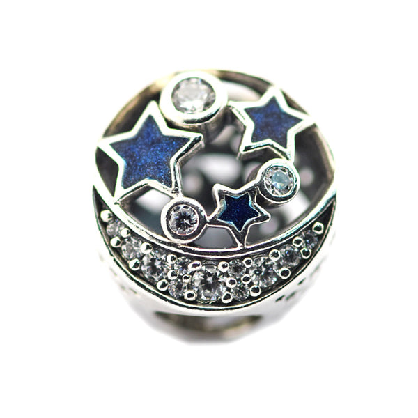 ... Vintage Night Sky Shimmering Midnight Blue Enamel Charm Sterling-Silver- Jewelry Fit Brand Bracelet