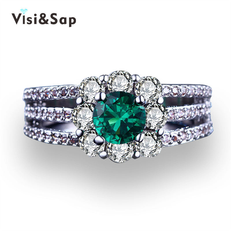 329012c333583 Visisap Green Stone Wedding ring gift engagement Rings For Women cubic  White gold color fashion Jewelry VSR194
