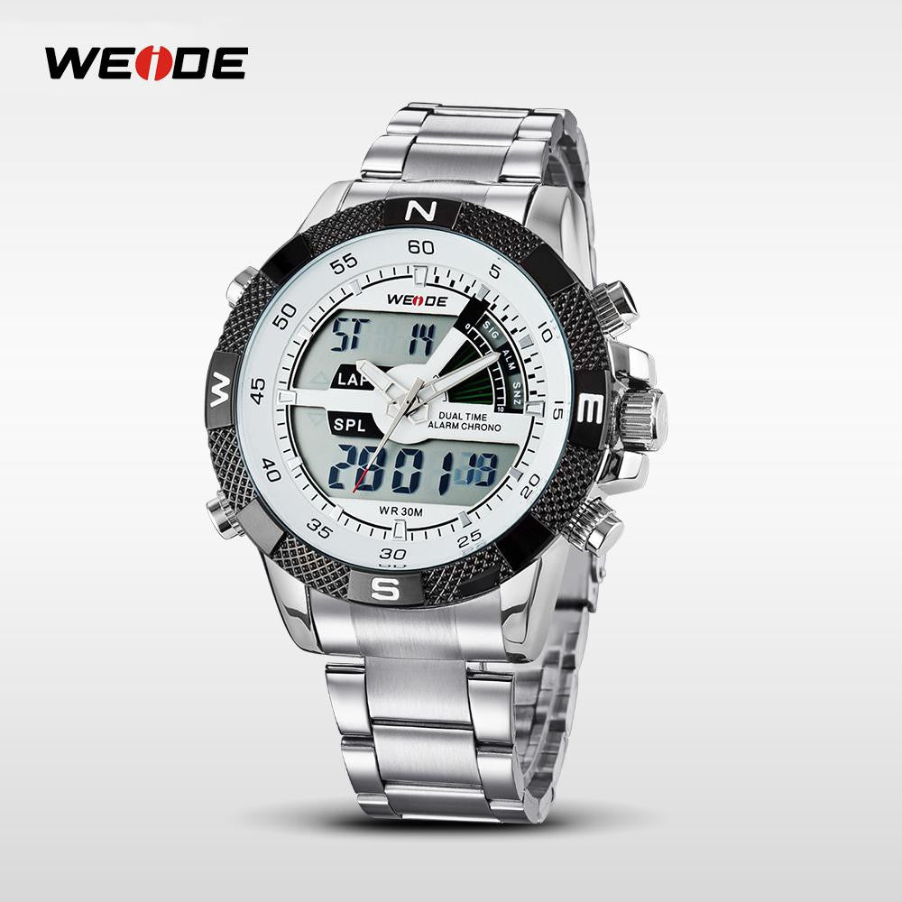 d5f083ab11 WEIDE Men Sports LCD Analog-Digital Watch Multi-function Dual Time Military  Army Watches Quartz movt 30M Waterproof Wristwatch