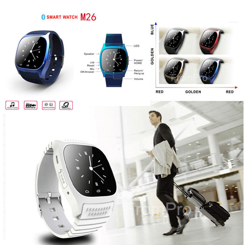 5606cb2f749 ... Waterproof Smartwatch M26 Bluetooth Smart Watch With LED Alitmeter  Music Player Pedometer For Apple IOS Android ...