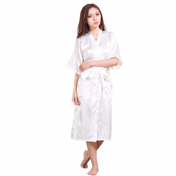 White Female Faux Silk Robe Bathrobe Women Sleepwear Kimono Bath
