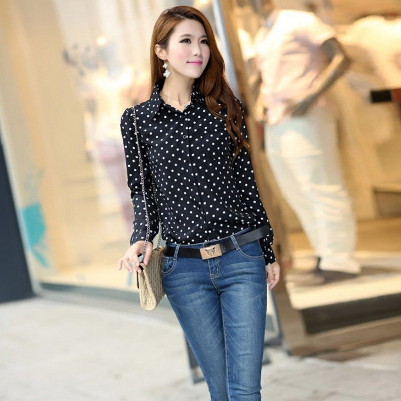 2d8933cba41 Women Casual Shirt Fall Polka Dots Vintage Design Long Sleeve Turn Dow –  Raja Indonesia
