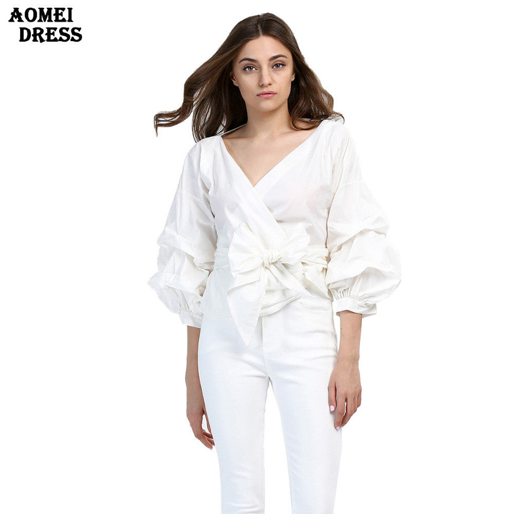 f827f4f3f7e Women Fashion White Ruffles Blouse V Neck Ladies Elegant Tops Clothing  Shirts Tops Female Clothes Blouses ...