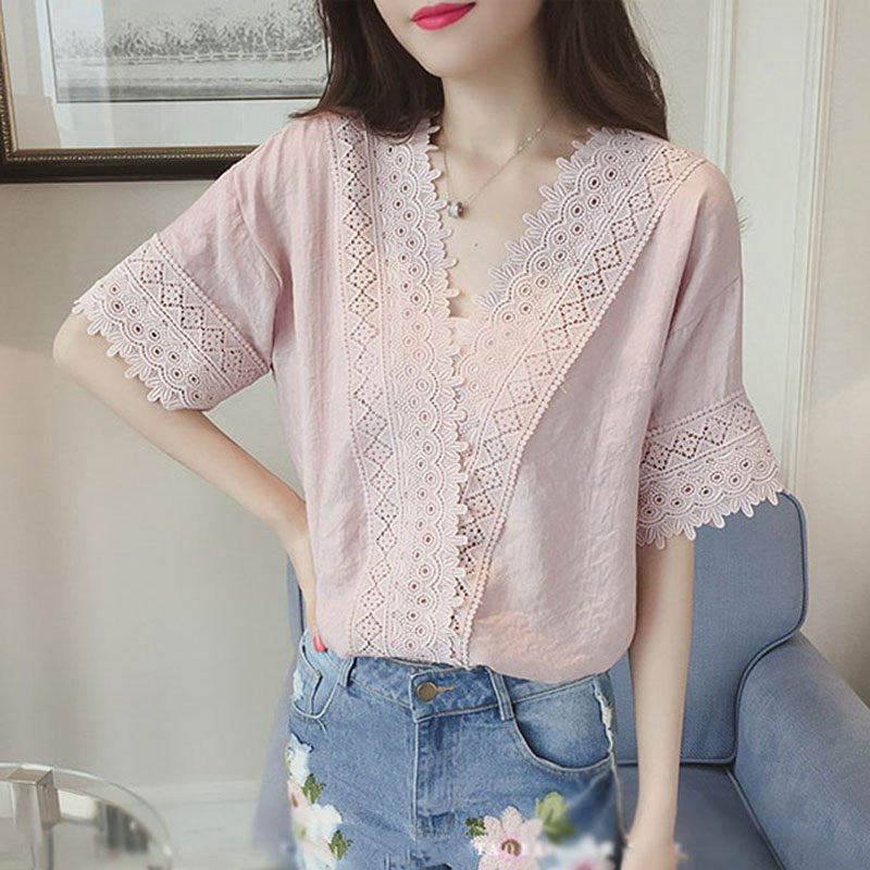 Women Short Sleeve Lace Crochet Tops Blouses Hollow Out White Lace
