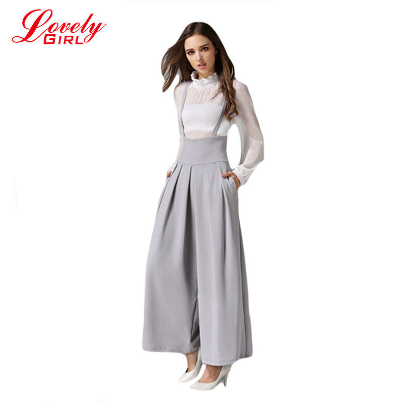 9ea3c6a58 Women Wide Leg Pants With Strap 2016 Summer Ankle-Length Loose Pants Female  Euro Style ...