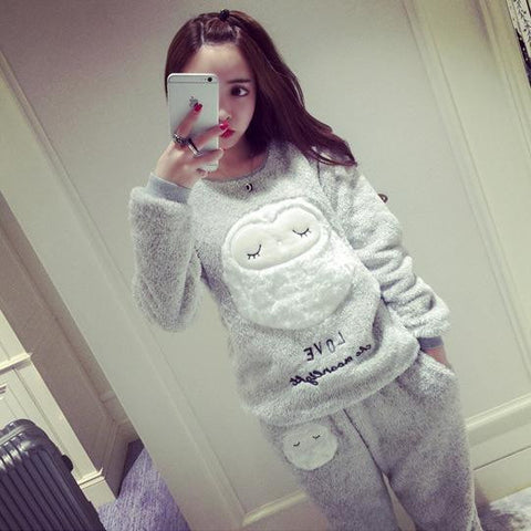 Women Winter Pajama coral fleece pajamas Lady plus sizes thickening sheep  leisure wear suit paragraph warm 62a34bab4