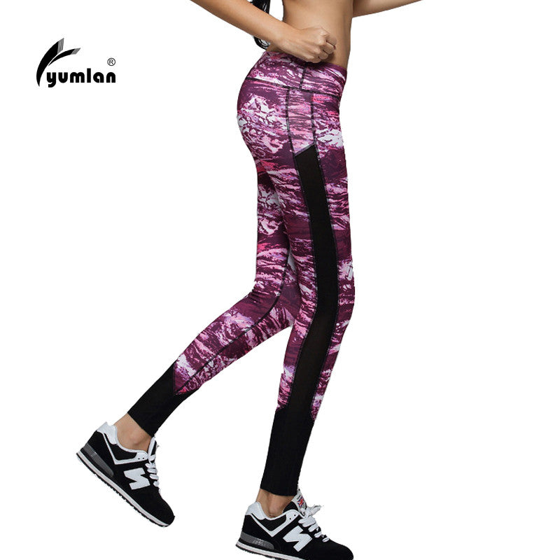 Women Yoga Sports Pants Elastic Wicking Force Exercise Tights Female S