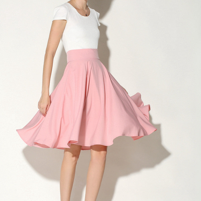 1c07ad003a Women a-line high waisted midi skirts Summer & Spring vintage umbrella  style solid pleated ...